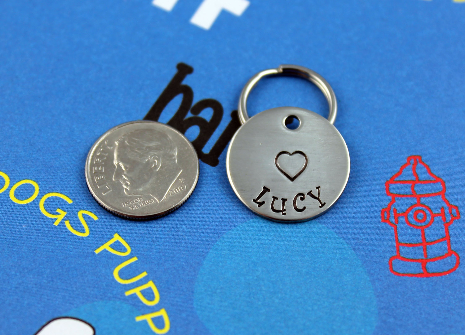 Small Dog Or Cat Tag With Heart Hand Stamped Custom Id