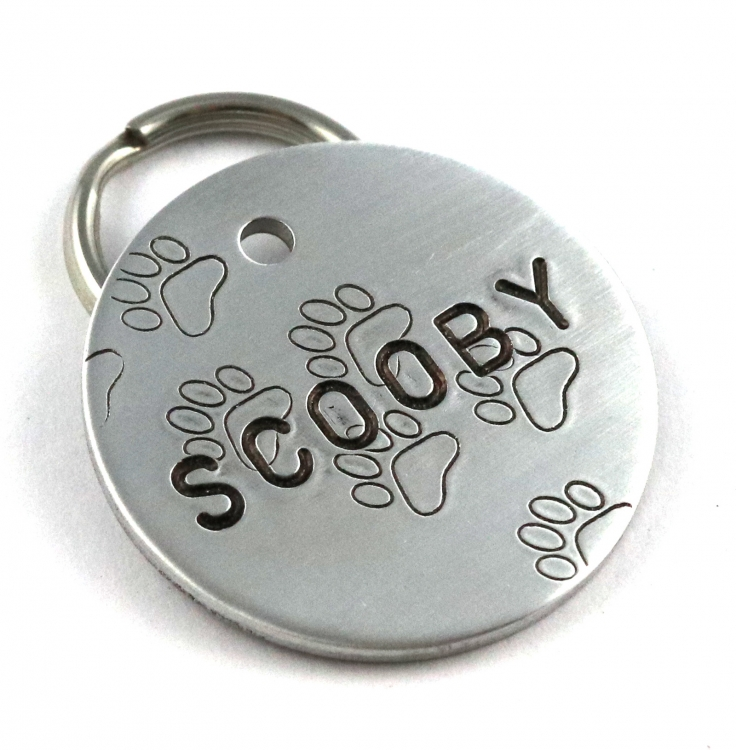 Fun Metal Pet Id Tag With Paw Prints Hand Stamped Dog