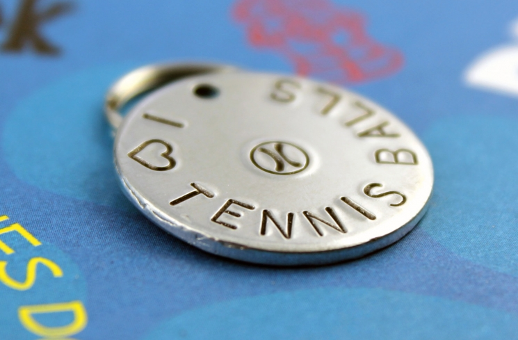 Customized metal dog ID tag - tennis balls