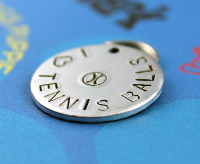 Customized metal dog ID tag - heart tennis balls
