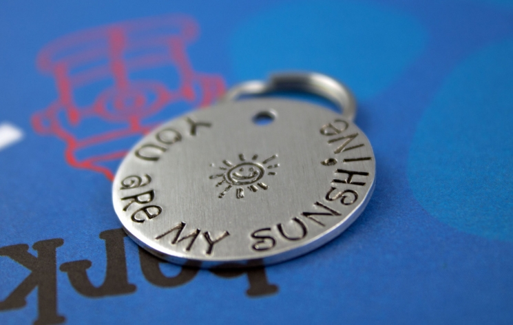 Cute Handstamped Dog Tag - Customized Pet Tag - You are my sunshine.