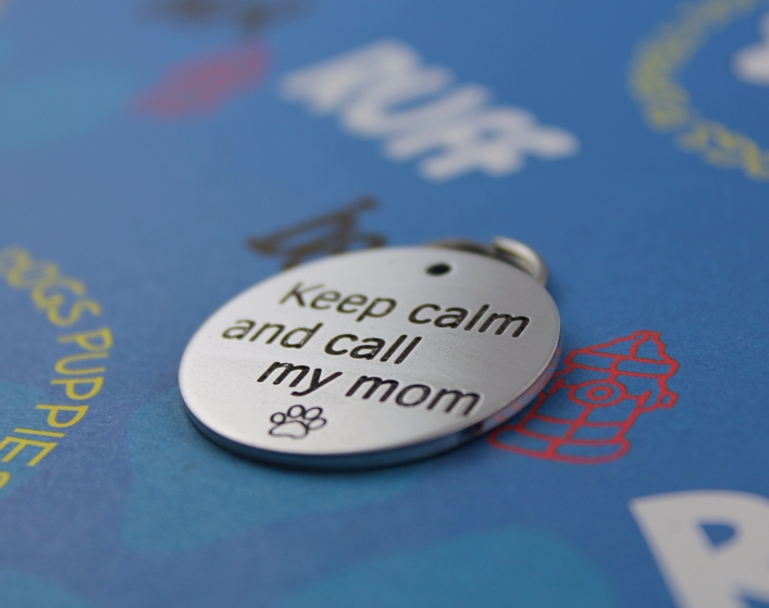 customized engraved funny dog tag - keep calm and call my mom - metal