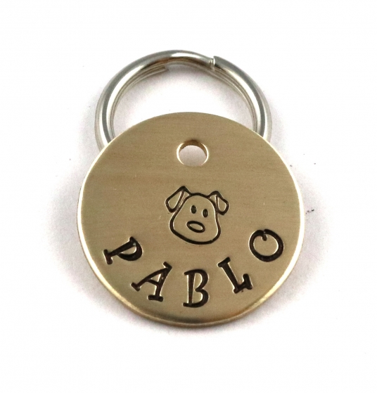 Small Dog ID Tag - Cute Pet Tag With Puppy Face