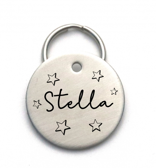 Stainless Steel Pet Name Tag with Stars - Engraved Dog Tag