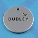 simple metal dog ID tag handstamped