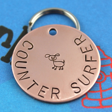 Custom metal pet tag, counter surfer, hand stamped