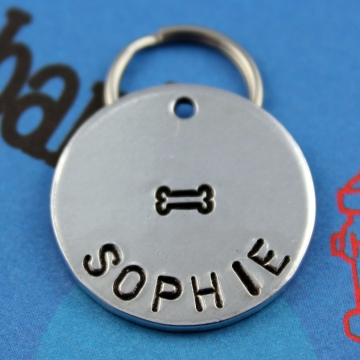 Customized Hand Stamped Pet Tag with Bone