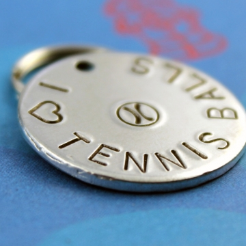 Customized metal dog ID tag - tennis balls