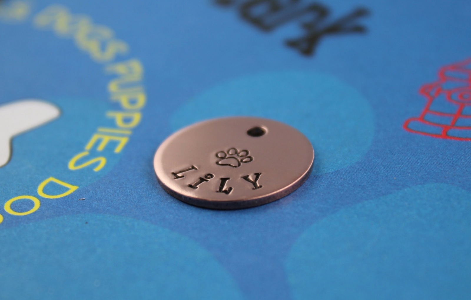 Small Dog Or Cat Tag Cute Hand Stamped Id Tag With Paw