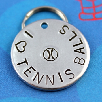 "Pet ID Tag -""I Heart Tennis Balls"" - Customized Unique Dog Tag"