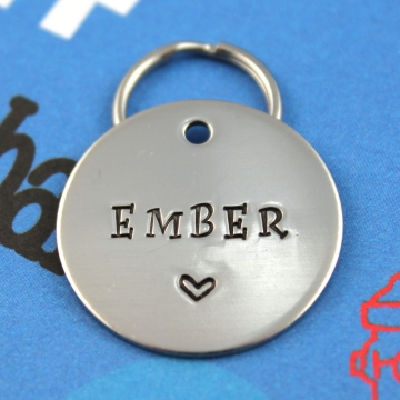 Personalized Sturdy Metal Dog Tag - Hand stamped