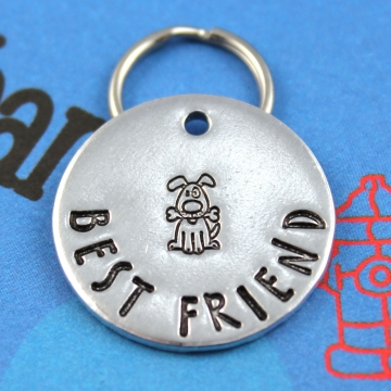 Customized Metal Dog Tag - Pet Identification Tag - Hand Stamped - Best Friend