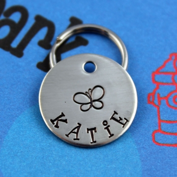 SMALL Customized Dog or Cat Tag with Butterfly - Metal Pet Tag