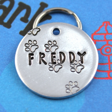Dog Tag - Unique Metal Pet ID Tag With Paw Prints - Hand Stamped