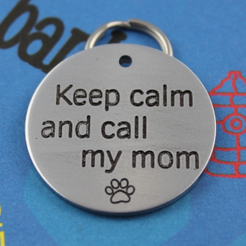 Large Pet Tag - Keep Calm and Call My Mom or Dad - Funny Dog Tag - Two Phone Numbers