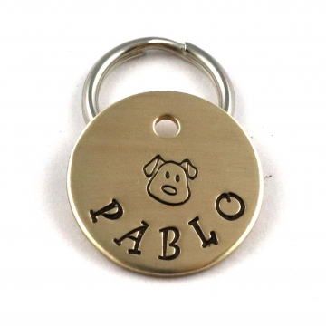 Small Dog ID Tag - Cute Metal Pet Tag With Puppy Face
