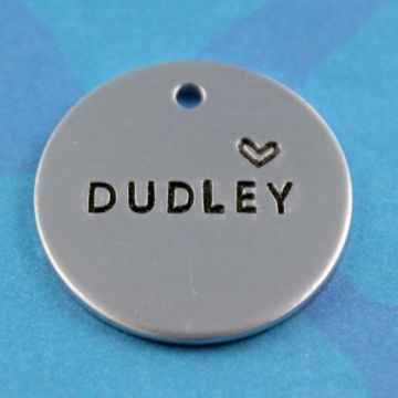 Simple Metal Dog Tag - Pet's Name with Heart - Phone Number on Back