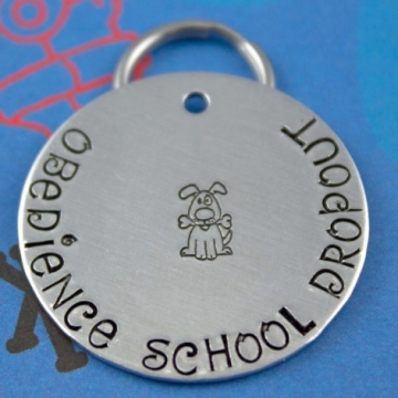 LARGE Funny Dog Tag - Customized - Obedience School Dropout