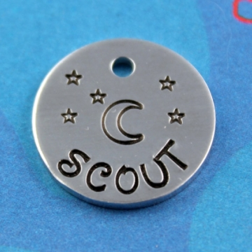SMALL Dog or Cat Tag - Cute Handstamped Moon and Stars Tag - Phone Number on Back