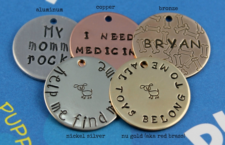 Custom Dog Tag - Unique Pet ID Tag - Rabbit Patrol - Metal Samples