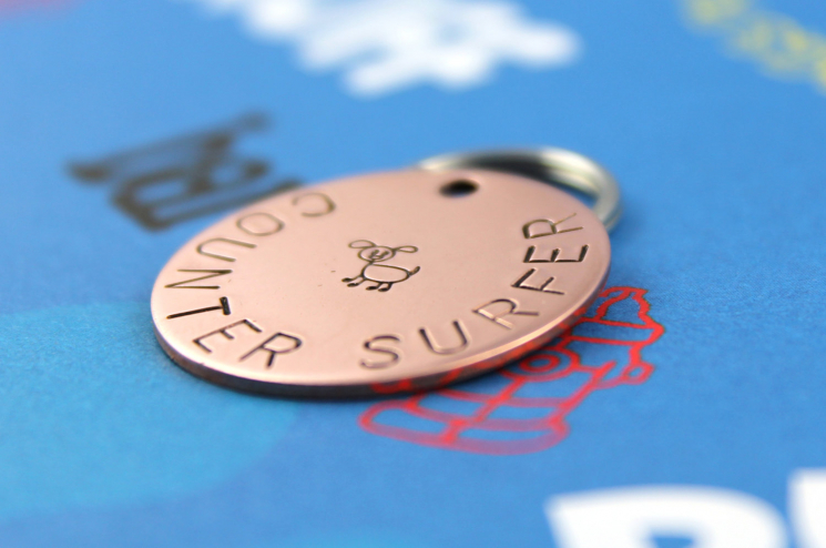 Custom metal dog tag, counter surfer, hand stamped