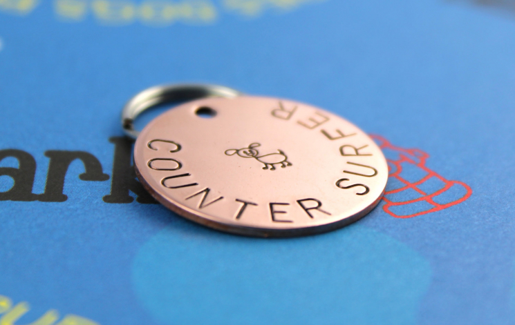 Custom metal pet name tag, counter surfer, hand stamped