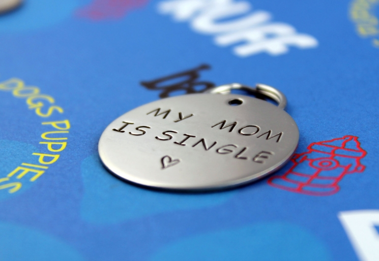 Customized Hand Stamped Pet ID Tag -My Mom is Single