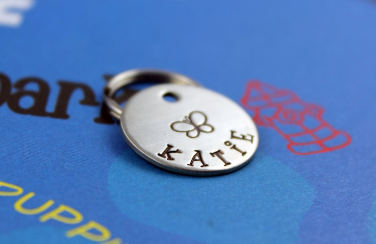 Small customized pet tag.