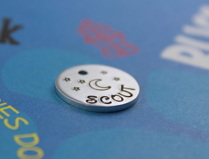 SMALL Dog or Cat Tag - Cute Handstamped Moon and Stars Tag