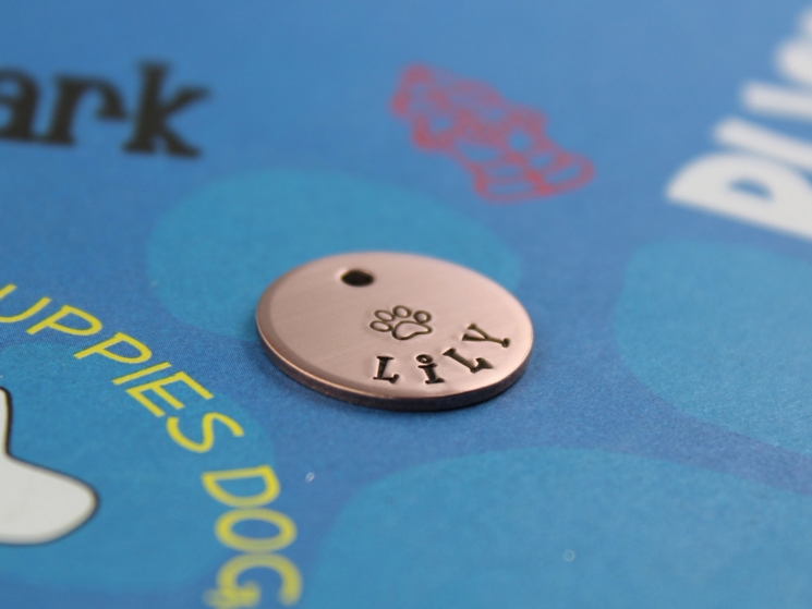 SMALL Dog or Cat Tag - Cute Hand-Stamped ID Tag with Paw Print