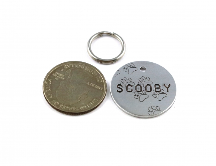 Fun Metal Pet ID Tag With Paw Prints - Hand Stamped Dog Name Tag