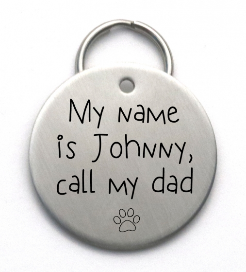 Call My Mom Dog Tag - Cute Handmade Pet ID - Engraved Stainless Steel