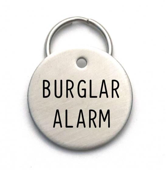 burglar alarm funny dog tag