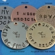 Customized Hand Stamped Pet Tag with Bone - Metal Samples