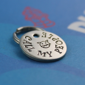 SMALL Cute Cat Tag - Unique Pet Tag - Call My People - Phone Number on Back