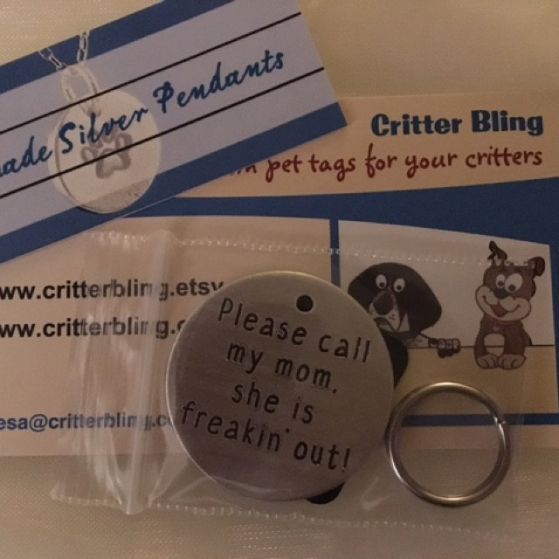 critter bling freakin' out tag