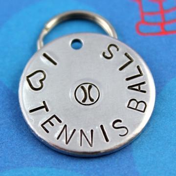 "Pet ID Tag -""I Heart Tennis Balls"" - Customized Unique Dog Tag"