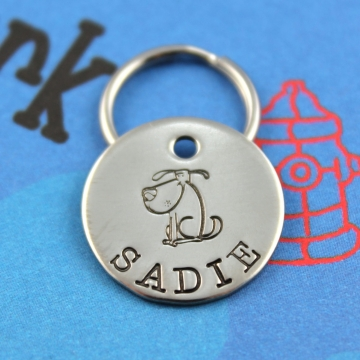 SMALL Personalized Dog ID Tag - Custom Hand Stamped Pet Tag