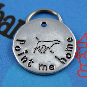 Personalized Hand stamped Metal Pet Tag - Pointer - Customized - Point Me Home