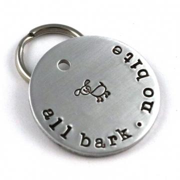 All Bark No Bite Custom Metal Pet Tag - Unique Funny Pet ID