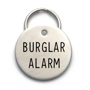Cool Dog ID Tag - Unique Gift For Pet Lover - Burglar Alarm - Name and Number on Back